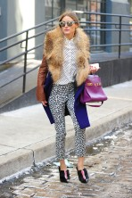 Exclusive - New York, - 02/12/2014 - Olivia Palermo sporting leopard print pants from the Banana Republic Sloan Collection during New York Fashion Week -PICTURED: Olivia Palermo -PHOTO by: Michael Simon/startraksphoto.com -MS_178271 Editorial - Rights Managed Image - Please contact www.startraksphoto.com for licensing fee Startraks Photo Startraks Photo New York, NY For licensing please call 212-414-9464 or email sales@startraksphoto.com