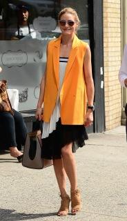 olivia-palermo-orange-vest-pleated-dress-main