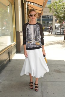- Brooklyn, NY - 08/11/2014 - Olivia Palermo on her way to lunch. She looks great in this Elie Tahari for DesigNation at Kohl`s top. -PICTURED: Olivia Palermo -PHOTO by: Michael Simon/startraksphoto.com -MS_225880 Editorial - Rights Managed Image - Please contact www.startraksphoto.com for licensing fee Startraks Photo Startraks Photo New York, NY For licensing please call 212-414-9464 or email sales@startraksphoto.com