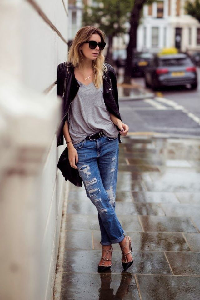 Ripped-Jeans-and-T-strap-Heels