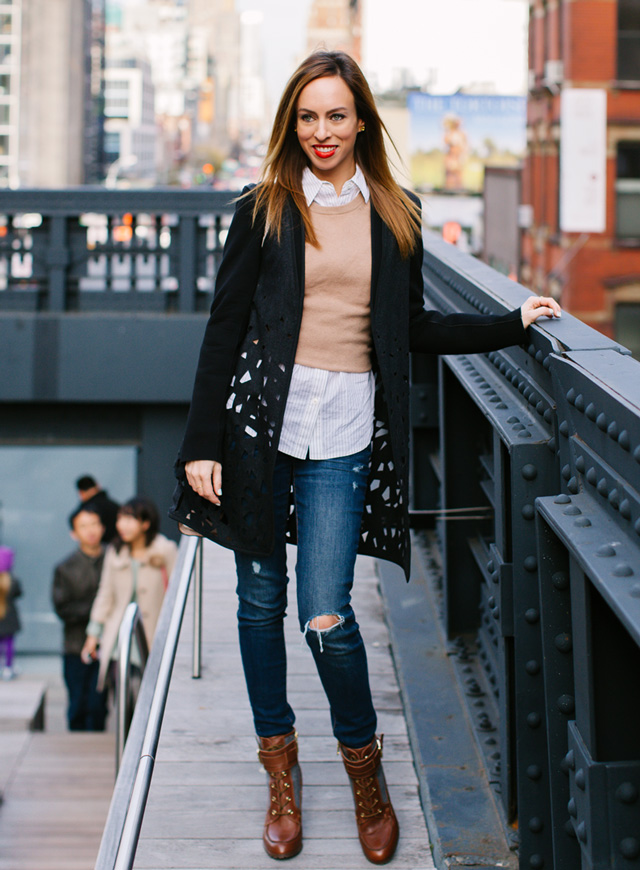 Sydne-Style-fall-winter-outfit-ideas-button-down-shirt-sweater-ripped-jeans-new-york-city-highline-elie-tahari-coat-laser-cut-details-tommy-hilfiger-booties-